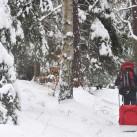 Mit Kletterrucksack und Pulka unterwegs