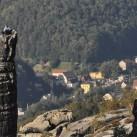 Klettern in den Schrammsteinen mit Blick übers Elbtal
