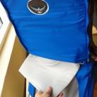 Gut versteckt: die Wickelunterlage bei der Osprey Kindertrage