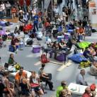 Messofoyer West: Ruhepunkt und Zuschauermagnet für die Kletterwettbewerbe
