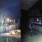 Lichtvergleich: links: Quad-Power-LED; rechts: Single Power-LED: Abstand zum Haus c.a. 40-50m