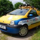 Der Twingo mit Lichtanlage nach Mongol Rally-Art