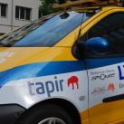 Der tapir fährt auf dem Logenplatz von Deutschland bis in die Mongolei