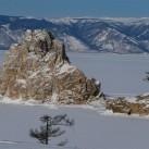 Der Schamanenfels bei Chuschir (Hauptort auf Olchon) am Kleinen Meer