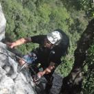 Unterwegs in den steilen Wänden am Dain Picol (wem das nichts sagt: Via Feratta Rino Pisetta)