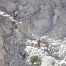 Freie Klettereinlagen über Bänder in der Brenta