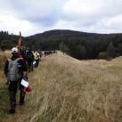 Outdoor-Bogenschießen: Zu Beginn des Turniers werden alle zu ihren Startpositionen im Wald gebracht, jede Gruppe beginnt an einem anderen Ziel