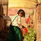 Die Schulklasse quer auf dem Heimweg den Hügel zum Tempel. Der Mönch hat für alle Kinder süße Nüsse und Körner zum Naschen.