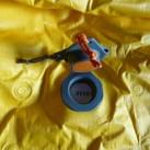 Sea to Summit Ultralight Mat: Das Ventil -Deflate- geöffnet - Luft kann raus und Matte wieder verpackt werden.