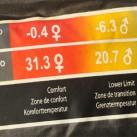 Drei Werte werden bei Western Mountaineering im  Schlafsack aufgeführt