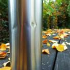 Hochwertiger Edelstahl: Die Flasche hält auch noch nach intensivem Gebrauch und mehrmaligem Runterschmeißen