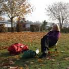 Ankommen und warten auf den Fotografen, um die Zeltdetails zu dokumentieren