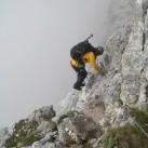 Einstieg in den Klettersteig mit leichtem Gepäck
