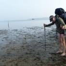 Beim Watt-Wasser-Wandern an der Ostsee wurde der Schuh getragen - allerdings nicht am Fuß