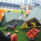 Auf dem Messestand von Cascade Design mit den neuen Zelten
