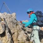 Unterwegs bei strahlendem Sonnenschein und leichter Briese im September auf dem Klettersteig im Karwendel