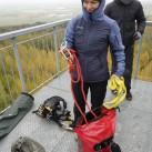 Zugig und kalt war es auf dem Aussichtsturm oberhalb der Halde Trages