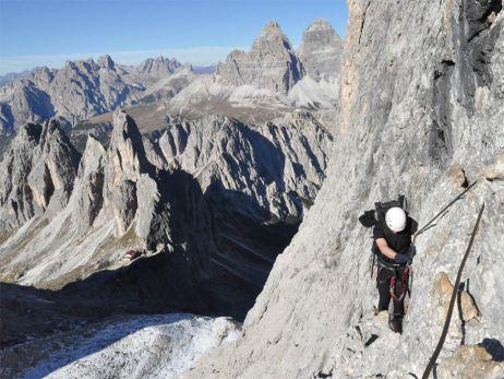 Dolomiten im Oktober: d.h., Klettersteige ohne Anzustehen