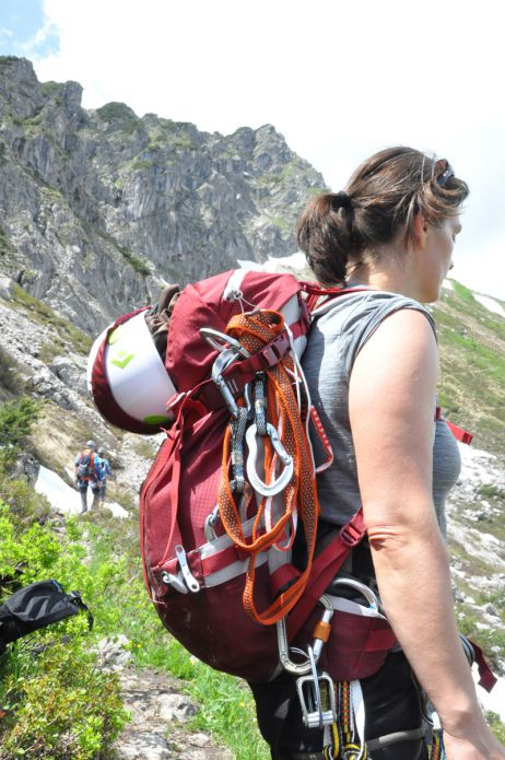 Auf dem Weg zum Klettersteig mit dem Rupal von Vaude