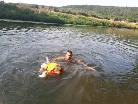 Erste Schwimmversuche