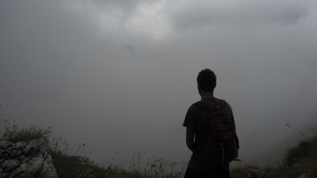 Bei der Sicht während des Abstieges vom Krn kann man schon einmal den Weg verlieren
