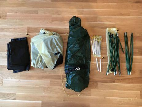 lieferumfang des exogen 1: innenzelt, aussenzelt, 2 gestaengeboegen, 10 heringe, 2 reparaturhuelsen, packsack (und beim tapir: groundsheet)