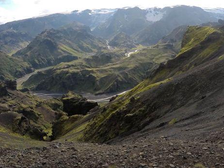 Blick auf Lavafeld am Mýrdal