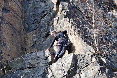 Erinnerungen werden wach - Simone kletternd am Holzberg 2010