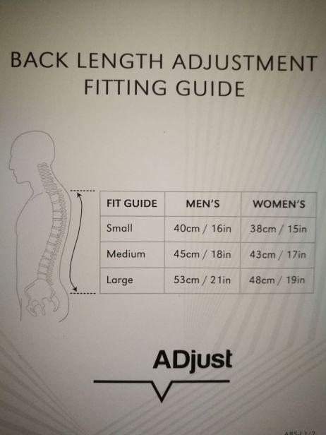 adjust-rueckensystem: groessentabelle