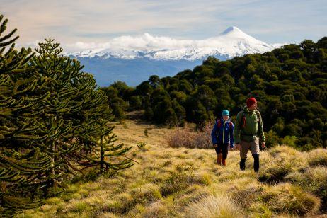 Wanderung im Parque Nacional Huerquehue mit Blick auf den Vulkan Villarrica