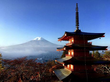Mount Fuji begrüßt uns am letzten Morgen in Fujiyoshida