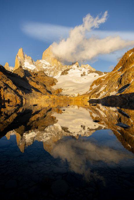 Der Monte Fitz Roy spiegelt sich in der Laguna de Los Tres