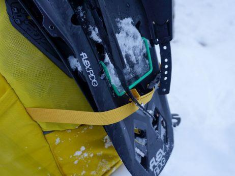 Die Riemen sind lange genug um die Schneeschuhe sicher zu verstauen