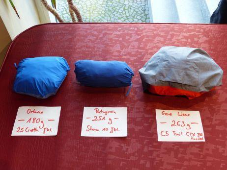 Die leichteren und kleineren Jacken: C5 Trail GTX Hoded, Storm10 und 2,5 Civetta